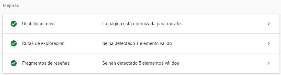 mejoras de url google search console