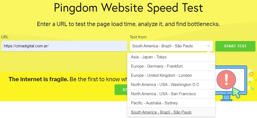 pingdom website test cima digital
