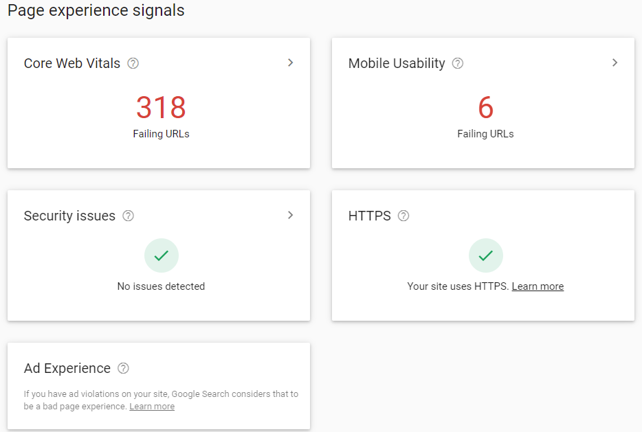 search console metricas webs principales