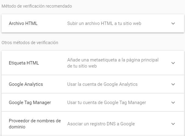 métodos de verificación en Google Console