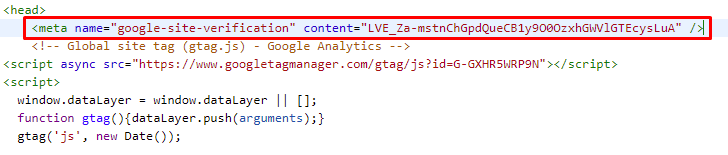 verificación consola de google con meta etiqueta
